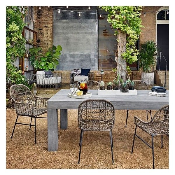 West Elm Modern Teak Dining Table, Weathered Gray (64,485 PHP) ❤ liked on Polyvore featuring home, outdoors, patio furniture, outdoor tables, grey outdoor furniture, gray outdoor furniture, outdoor furniture, teak coffee table and teak patio furniture