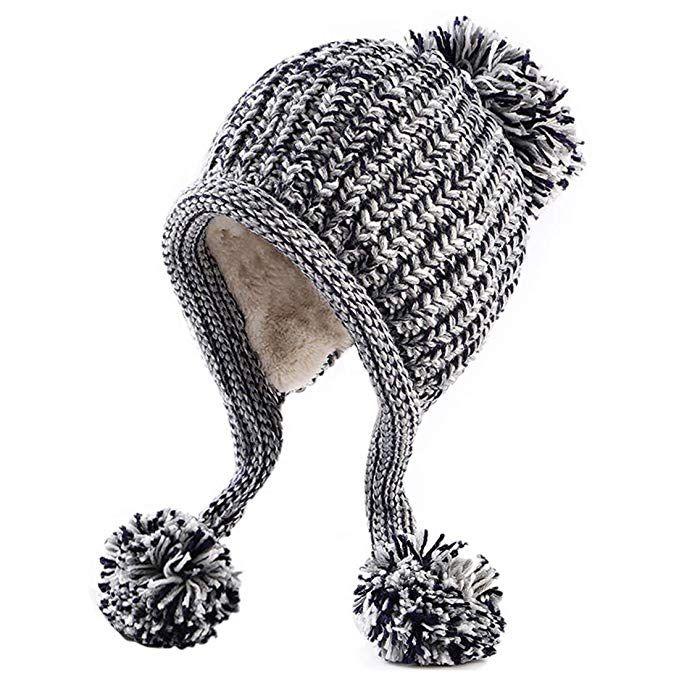 697f7841c HUAMULAN Women Winter Peruvian Beanie Hat Skull Ski Cap Fleece Lined ...