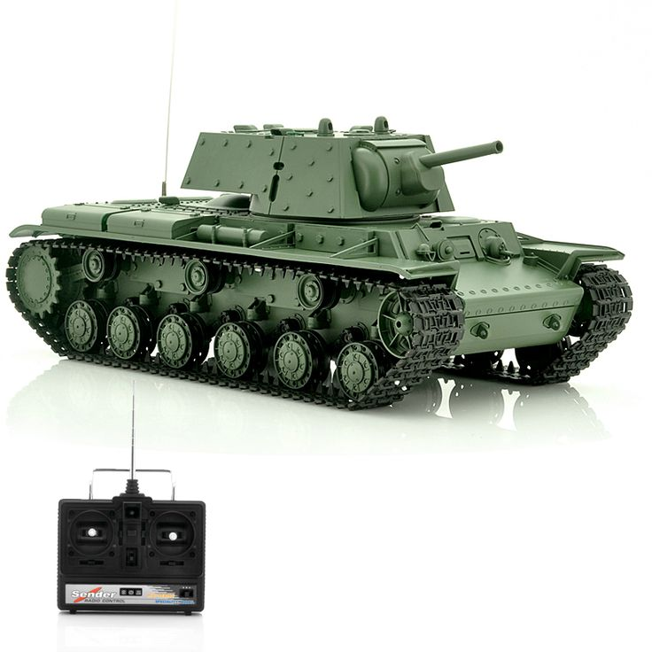 This 1/16 scale model RC tank of the Russian World War II tank 'KV-1' come equipped with remote controlled turret, barrel and can shoot 6mm BB's.