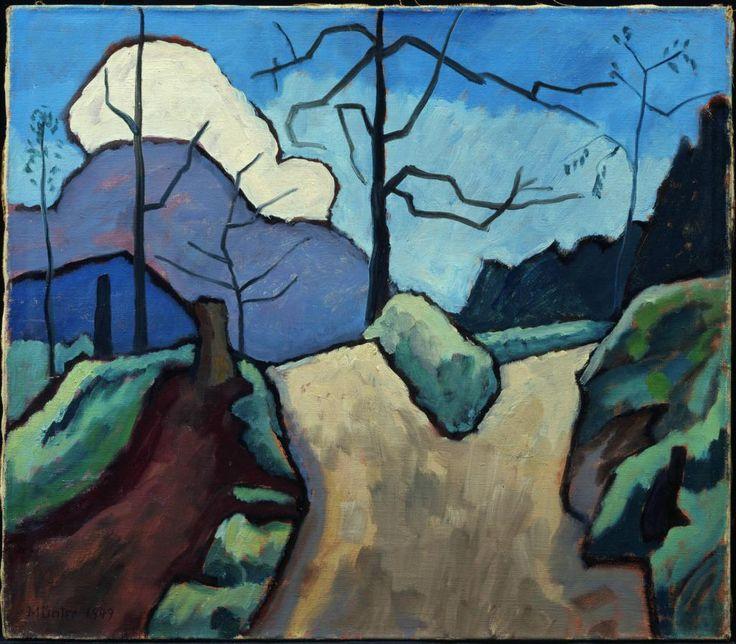 Gabriele Münter (1877-1962) Tijdens de zomer gingen docent en studenten op schilderexcursie  in de nabijgelegen Beierse Alpen; het zou het begin betekenen van een jarenlange relatie tussen Kandinsky en Münter. In 1903 was het paar dan ook min of meer verloofd, al was Kandinsky officieel nog steeds getrouwd.