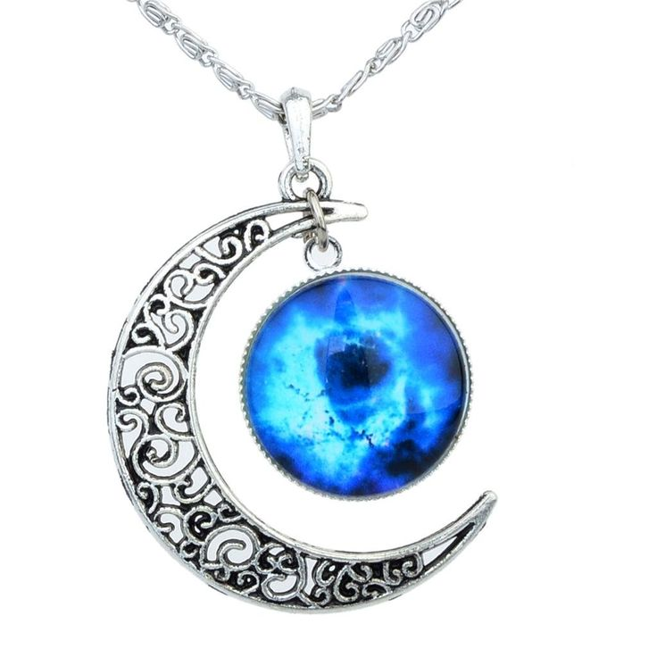 antu Black Blue Women's Crescent Moon Galactic Universe Cabochon Pendant Necklace Christmas Gift: Jewelry: