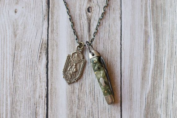 SOLD*  Mini Pocket Knife Necklace ~ Vintage ~ Saint Christopher ~ by Vice and Virtue NYC