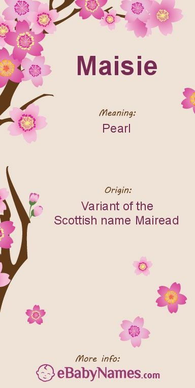 """Meaning of Maisie: Maisie is traditionally a nickname for the Scottish name Mairead, a variant of Margaret, but is used as a given name with some popularity in the UK and can work as nickname for most names beginning with """"Ma"""""""