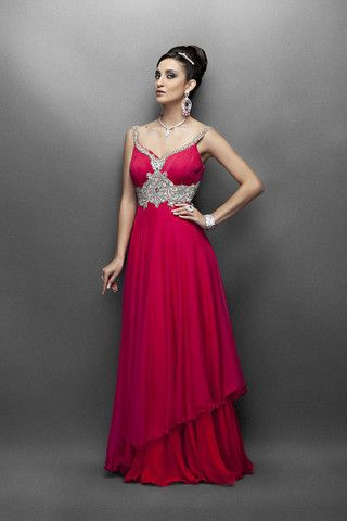 Pink and red color bridal gown – Panache Haute Couture