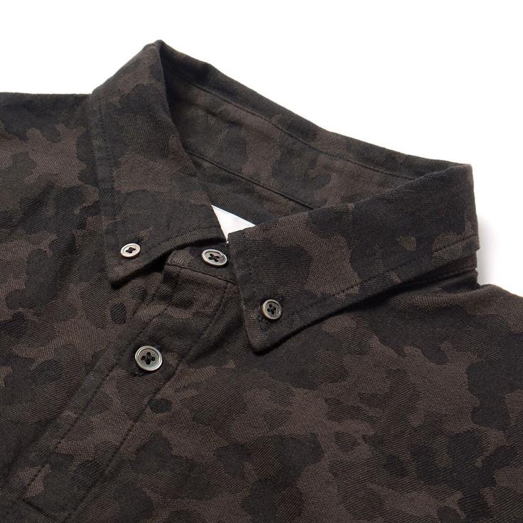 wings + horns Camouflage Jacquard LS Button Down Shirt Camo Sulphur