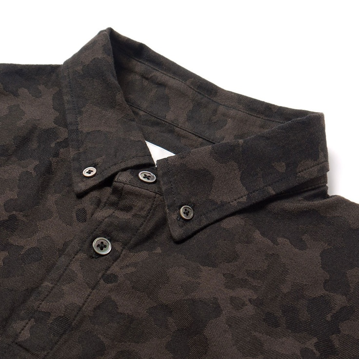 wings + horns Camouflage Jacquard LS Button Down Shirt Camo Sulphur