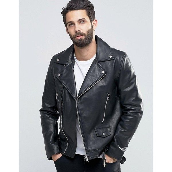 ASOS Leather Biker Jacket With Belt in Black ($205) ❤ liked on Polyvore featuring men's fashion, men's clothing, men's outerwear and men's jackets