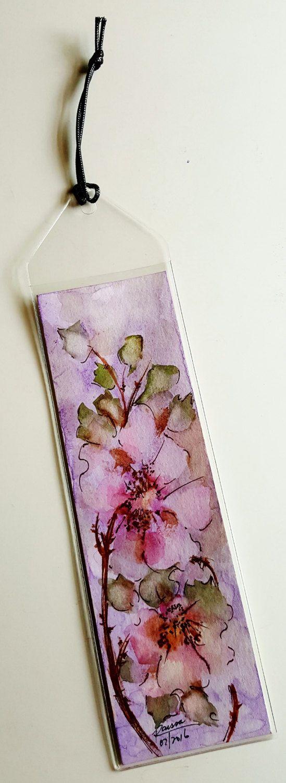 Original Watercolor Bookmark - Watery Wild Roses by RaissasArtmarket on Etsy
