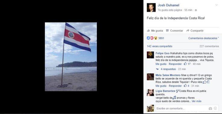 Actor Josh Duhamel desea a ticos feliz día de la Independencia