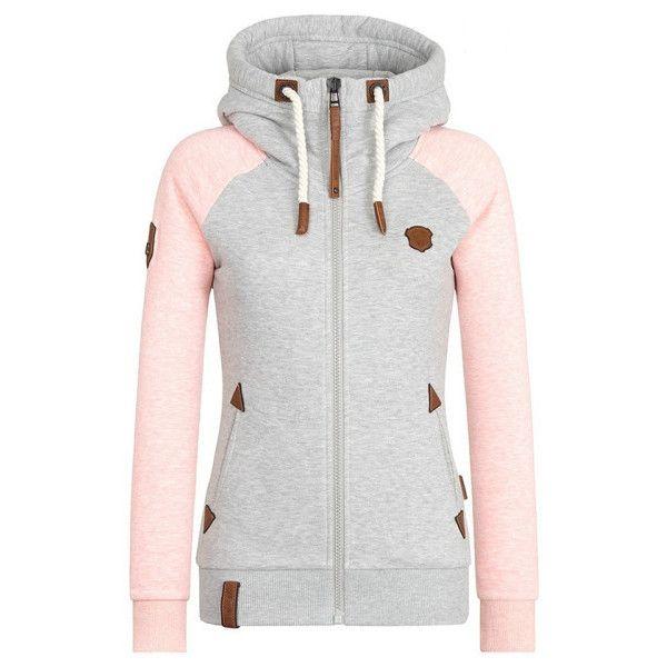 Women's Block Hoody Jacket Casual Drawstring Zipper Sweatshirt S-5XL (12 NZD) ❤ liked on Polyvore featuring tops, hoodies, pink, color block hoodies, white zipper hoodie, pink hoodies, pink hoodie and zip hooded sweatshirt