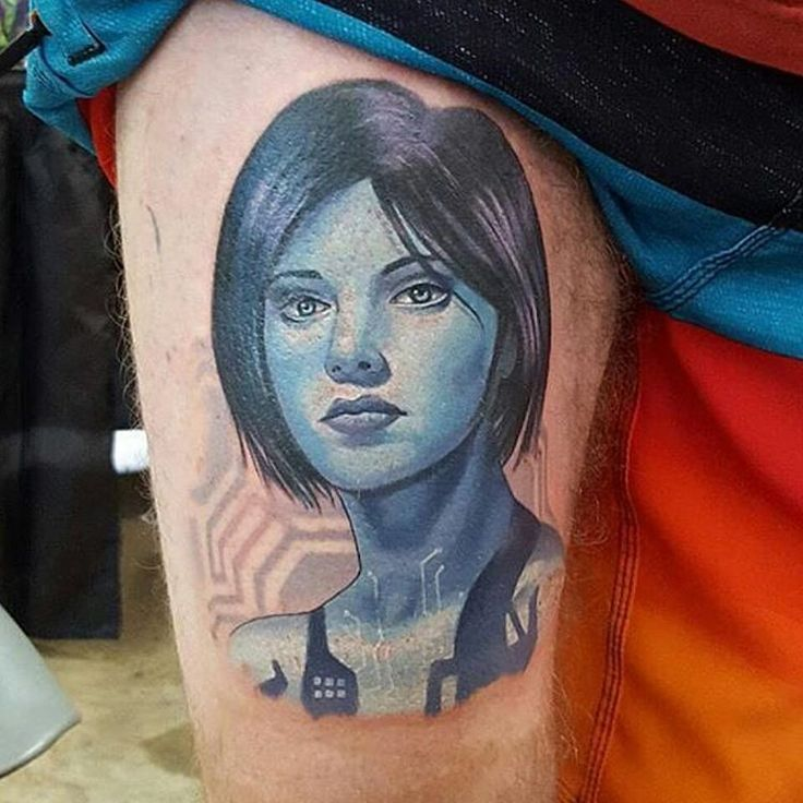 """Cortana tattoo by @tattoosbyhalo  #cortana #halo #halotattoo #videogametattoo #xbox Thanks again Halo! =)  -  Cortana Quote: ""Don't make a girl a promise…"""
