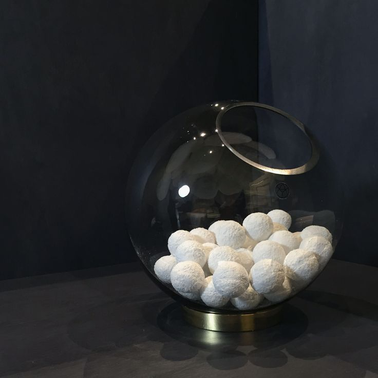 AYTM Globe vase used as a bowl with snowball candy