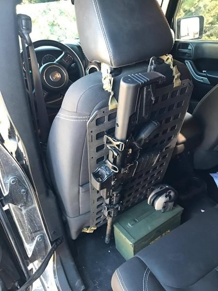 Rigid Insert Panel MOLLE (RIP-M) - 15.25in x 25in Seat Back Vechicle AR-15 Rifle Mount for Seat Back or Under Seat in Truck, Patrol Vehicle Etc. Grey Man Tactical www.greyman-tactical.com.