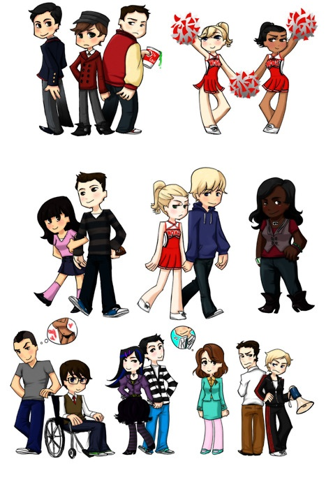 Glee club... As follows: Blaine, Kurt, Karofsky?, Brittany & Santana, Rachel & Finn, Quinn & Sam, Mercedes, Puck, Artie, Tina & Mike, Mrs. Pillsbury?, Will, Sue.