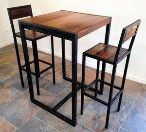 Tabouret de bar Factory : tabouret haut avec dossier ou chaise haute acier et bois MATHI DESIGN