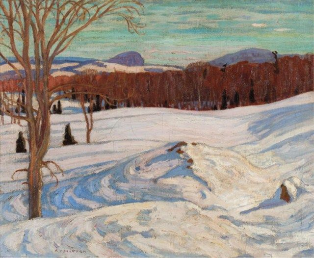 """February Afternoon, Hatley, Quebec,"" Alexander Young Jackson, 1922, oil on canvas, 21 x 26"", private collection."