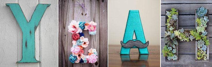 Les lettres décorées de matériaux variés offrent un moyen pas cher et super chic de créer des objets uniques au monde et d'en embellir l'intérieur ! Quels