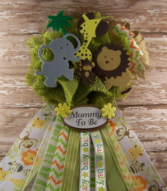 Jungle Safari Animals Mommy To Be Corsage Baby by BloomingParty