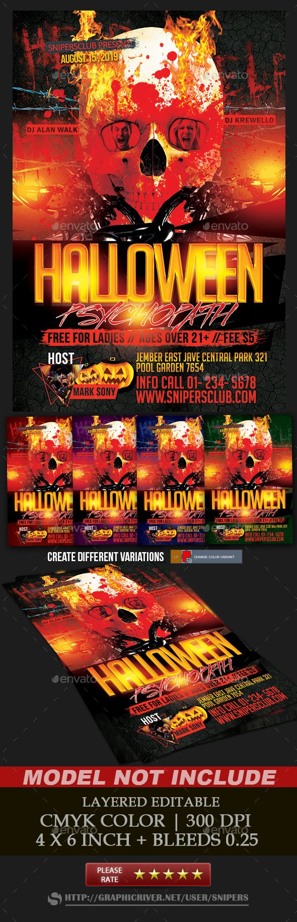 Halloween Psychopath Party  — PSD Template #holiday #dj • Download ➝…