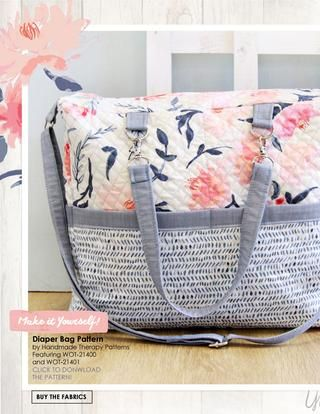 Fabulous duffle bag made with Wonderful Things Bonnie Christine  #ArtGalleryFabrics #sewing #quilting #travel #bag #handmade #diy #pattern #florals