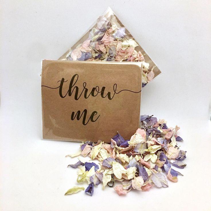 Flower Petal Confetti Pale Pink Grey Off White Petals Biodegradable Calligraphy Throw Me Kraft Packet Vintage Weddings