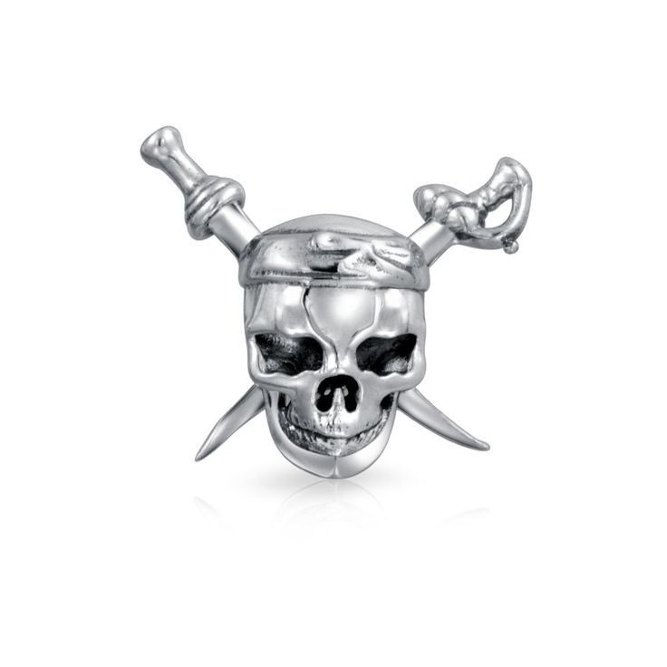 Bling Jewelry Pirate Skull and Swords Bead Charm .925 Sterling Silver. Not quite the Jolly Roger, this 3D skull and cross swords is still a scary pirate symbol, in this case made of sterling silver with a 5mm unthreaded core. 100% safe for sensitive skin. Copper and allergy free. Material: .925 Sterling Silver Measure: 5 mm Bead Core Weight: 2.5 Grams. Compatible with Pandora Charms, Biagi, Troll, Chamilia, European Style, Persona, Ohm, Kay's Charmed Memories and More. Fits both necklace…