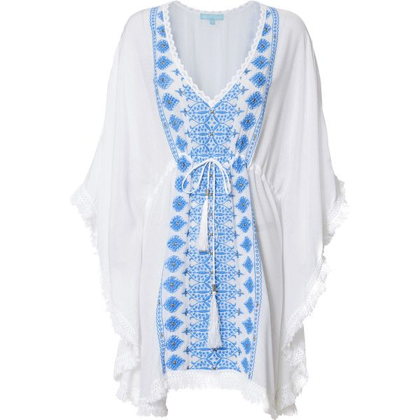 Isabelle Kaftan ($199) ❤ liked on Polyvore featuring tops, tunics, white, white embroidered top, white beach kaftan, v neck tunic, beach kaftan and caftan tunic