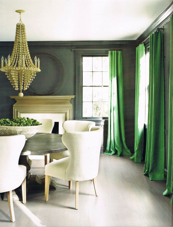A Divine Dining Room. Charcoal and emerald. Interior Designer: Kay Douglass.
