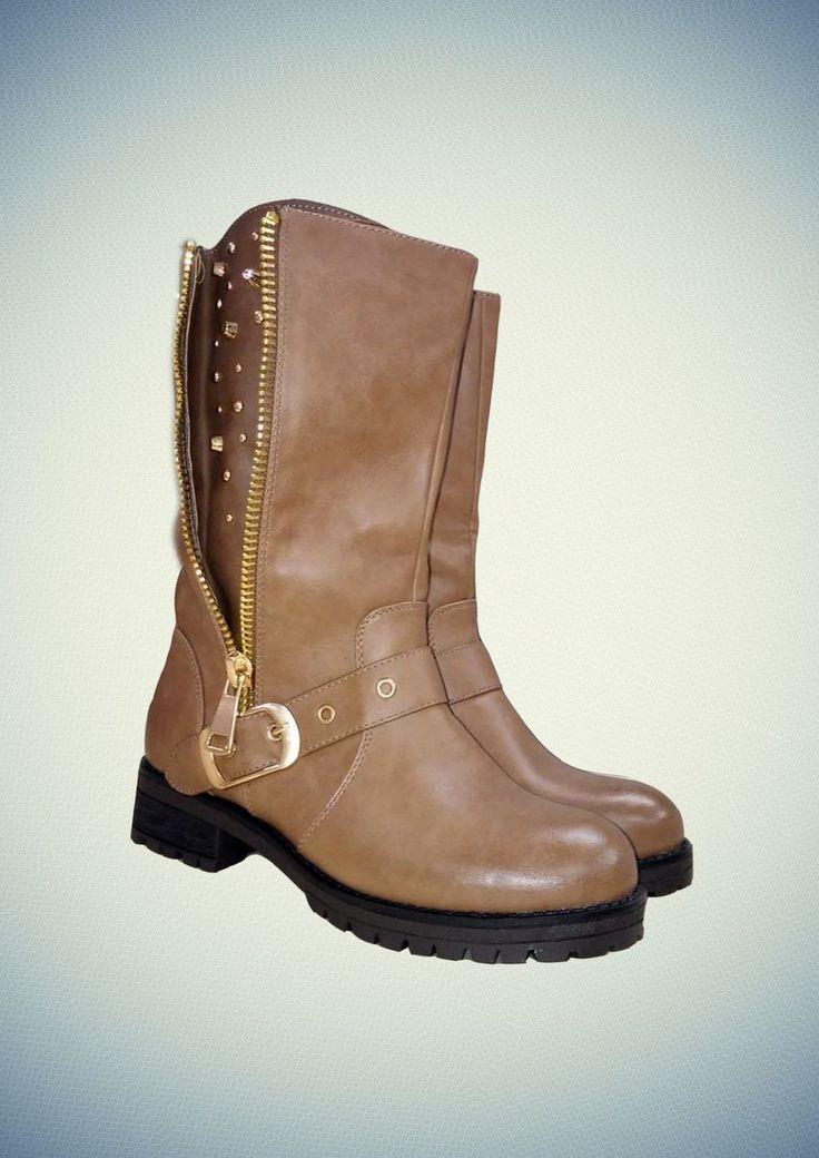 Μποτάκι Με Φερμουάρ Και Τρουκς Στο Πλάι #FW14 #boots #womensfashion