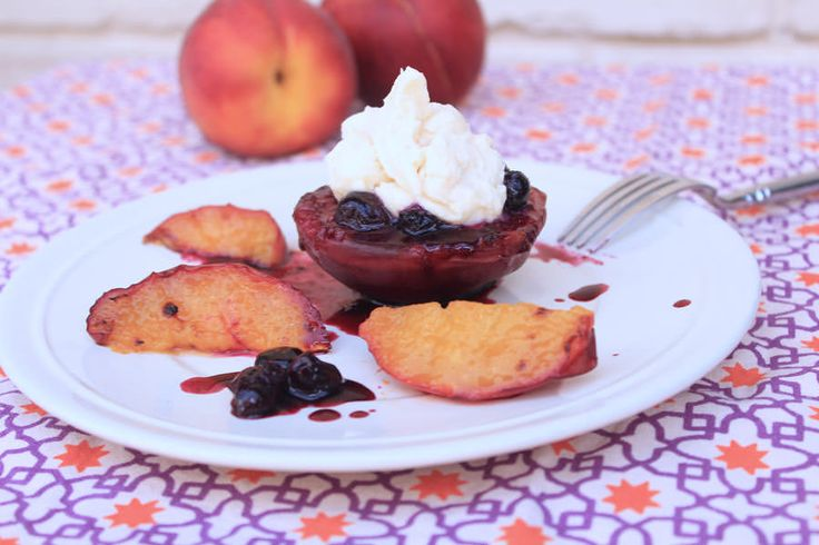 Grilled Peaches And Cream With Blueberries - Grill Grrrl Blog: Grill Girl, Big Green Egg Recipes, Healthy Grilling Recipes, Tailgating Recip...