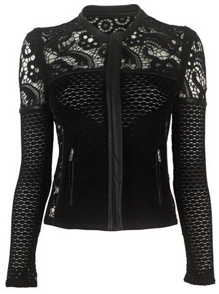 black  *biker* jacket with crochet lace <3