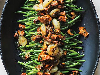 Green Beans with Chanterelles and Cipollini | Chanterelle mushrooms and cipollini onions are worth the splurge, but you can substitute halved cremini mushrooms and frozen pearl onions and the results will still be very tasty.