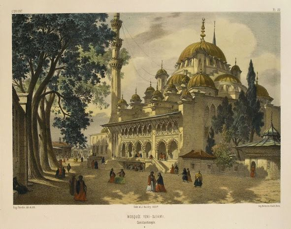 MOSQUEE+YENI+-+DJIAMI,CONSTANTINOPLE,By+Jean-Baptiste+Eugene+Napoleon+Fladin,Hand+coloured,+Published+by+Gide+&+J.+Baudry,+Paris+1853,Original+antique+lithograph.jpg (591×466)