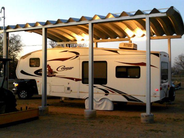 Commercial grade steel carport RV storage