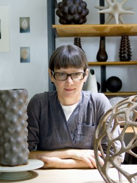 Pamela Sunday makes ceramic sculptures inspired by nature and science.  Her interest in natural forms dates to childhood, when she played alone in the woods, combing the ground for fossils and hiding in hollowed out trees.  She is known for meticulous craftsmanship and the inventiveness with which she explores the outer limits of her materials. Her expert use of hand building techniques renders each work she makes unique.
