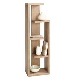 """Showcasing a lightly distressed driftwood finish and four shelves, this sleek bookcase offers a touch of contemporary style to your living room or library.    Product: Bookcase Construction Material: Oak and oak veneer Color: Driftwood Features: Multi-level shelves Dimensions: 64"""" H x 20"""" W x 12.5"""" D"""