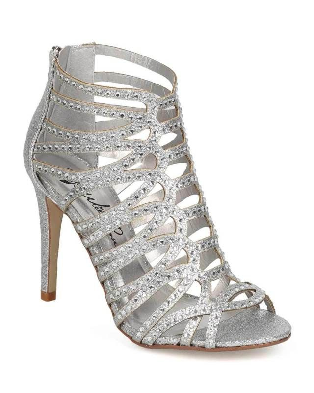 New Silver High Heel Sandal Bridal Prom Wedding Formal Shoes Strappy Rhinestone