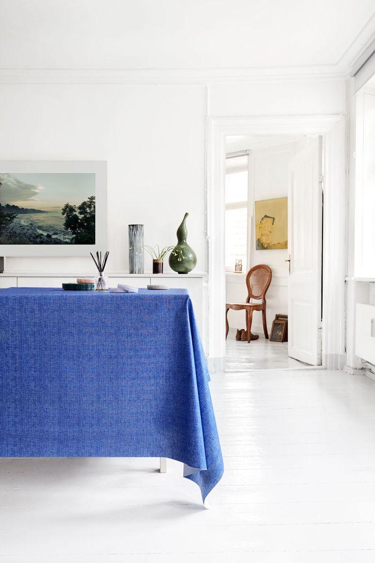 Almost Linen Oilcloth Azur Blue. Buy online.