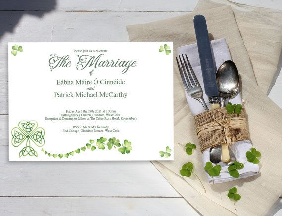 16 best wedding invitations images on pinterest rsvp wedding shamrock wedding invitation template 750 great for those of you with irish roots stopboris Choice Image