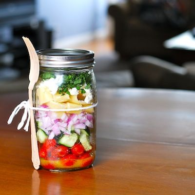 Bring Your Lunch by thedailymuse #Mason_Jar #Salad #Lunch #thedailymuse: Mason Jars Salad, Idea, Salad Jars, Food, Work Lunches, Salad Recipe, Mason Jar Salads, Greek Pasta Salad, Greek Salad