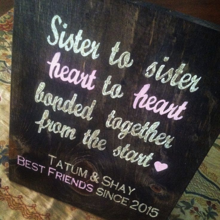 Handmade by Doh Doh's Boutique. Visit www.facebook.com/dohdohsboutique to place your own custom order! OR email at ao8711@gmail.com Sister to sister, heart to heart, bonded together from the start ❤️ Twin Sister quotes, Best Friends Forever Custom Wood Sign, pink and gold glitter, Nursery Decor, baby shower gift, wall decor, wood sign, painted lettering
