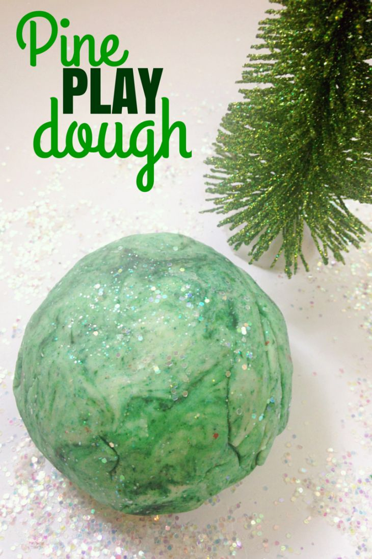 Create a pine scented Christmas play dough this season with this easy recipe!