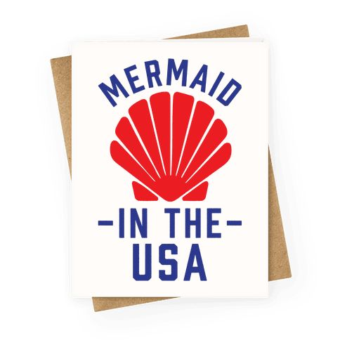 "Mermaid In The USA - You've heard of ""Made in the USA,"" now get ready for Mermaid in the USA! Show that you've a proud American mer-girl with this pun based, Fourth of July, Independence day design."