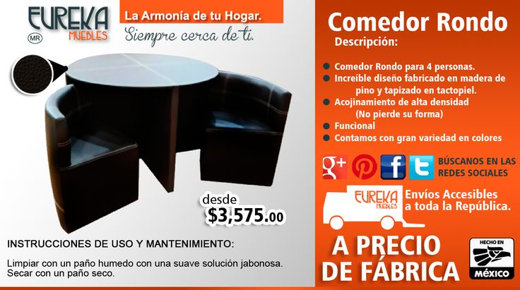 comedor rondo http://www.eurekamuebles.com.mx/comedor-rondo.html