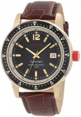Relógio Red Line Men's RL-50013-YG-01-BR Meter Automatic Black Dial Brown Leather Watch #Relógio #Red Line