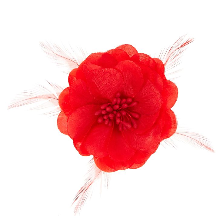 """<P>This red flower hair clip has a seed bead center and accented with skinny red feathers for cute style.</P><UL><LI>Flower design <LI>Alligator clip back</LID> <LI>2 1/2""""D <LI>This item is only available in-store for our Canadian customers</LI></UL>"""