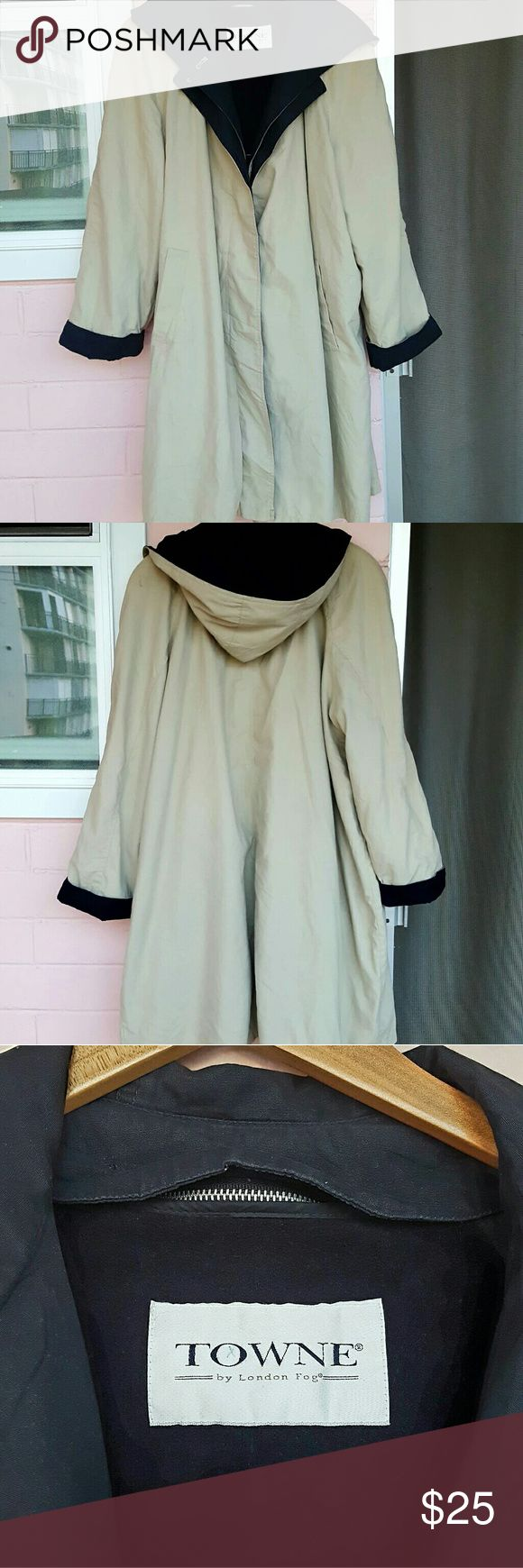 TAN LONDON FOG TRENCH COAT *tan hooded trench coat *size 20 *removable inside liner (see pic 4) *might be missing a button *couple of marks - can be removed with a good clean  bought on impulse at a sample sale in NYC and grabbed the first coat I saw before checking the size since these were flying off the rack! Looking to get my money back. London Fog Jackets & Coats Trench Coats