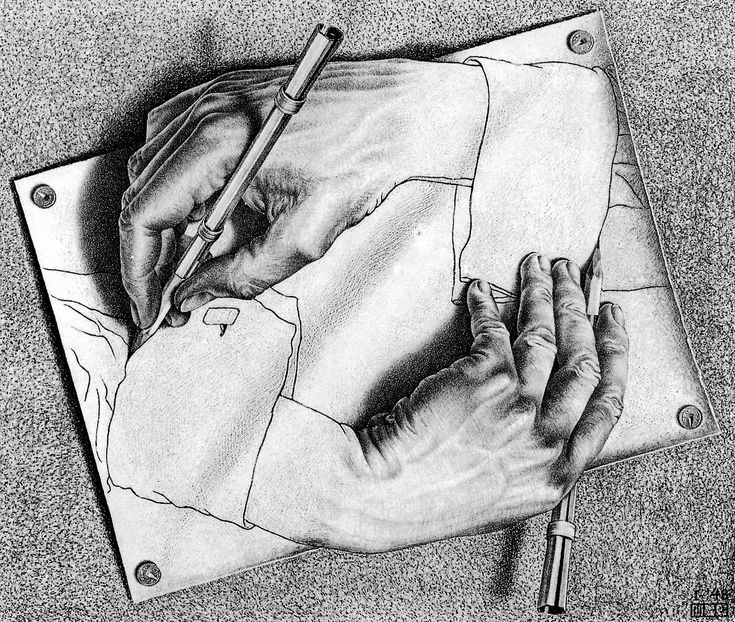 L1-P4: THE VALUE OF VARYING YOUR VALUES (This art is ref'd in Pin 5 video, 38 sec. mark.) | Hands, pencil drawing by M.C. Escher | Use of contour LINES on cuffs make flat SHAPES. Hands look 3D (FORM) because of various design devices: SHADING, OVER-LAPPING, well organised CAST SHADOWS, and BREAKING OUT OF PERCEIVED BOUNDARIES (edges of the paper). Note edges of fingers: value shift, not lines. (NEXT: L1-P5)