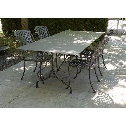 Stalen tuintafel met smeedijzeren onderstel Parijs + aluminium Monaco stoelen