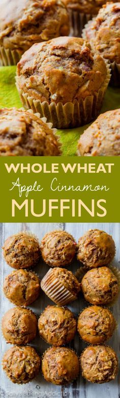 Healthy, simple, AMAZING whole wheat apple cinnamon muffins with zero refined sugar. Find this easy muffin recipe on http://sallysbakingaddiction.com